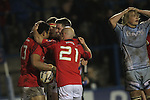 The Munster players celebrate a late match winning try by Casey Lauala..Celtic League.Cardiff Blues v Munster.02.11.12.©Steve Pope
