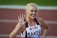 26th August 2021; Lausanne, Switzerland;  Ellie Baker of Great Britain after winning the womens 800m during Diamond League athletics meeting  at La Pontaise Olympic Stadium in Lausanne, Switzerland.