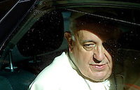 Papa Francesco arriva alla chiesa di Santo Stanislao dei Polacchi a Roma, 4 maggio 2014.<br /> Pope Francis is seen inside his car arrives for his pastoral visit to the church of St. Stanislaw of Poles in Rome, 4 May 2014.<br /> UPDATE IMAGES PRESS/Riccardo De Luca<br /> <br /> STRICTLY ONLY FOR EDITORIAL USE