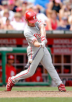11 June 2006: David Bell, third baseman for the Philadelphia Phillies, makes contact at the plate during a game against the Washington Nationals at RFK Stadium, in Washington, DC. The Nationals shut out the visiting Phillies 6-0 to take the series three games to one...Mandatory Photo Credit: Ed Wolfstein Photo..