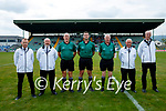 Referee, John O'Halloran and his officials before the County Senior hurling Semi-Final between St. Brendans and Causeway at Austin Stack park on Sunday.