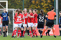 Standard's players pictured celebrating after scoring a goal during a female soccer game between Standard Femina de Liege and Club Brugge YLA on the seventh matchday of the 2020 - 2021 season of Belgian Scooore Womens Super League , saturday 14 th of November 2020  in Angleur , Belgium . PHOTO SPORTPIX.BE | SPP | DAVID CATRY
