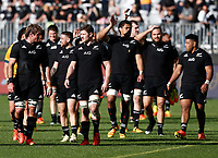 5th September 2021; Optus Stadium, Perth, Australia: Bledisloe Cup international rugby, Australia versus New Zealand; All Blacks players applaud their supporters after their defeat of Australia