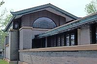 F.L. Wright: Dana House, Springfield, ILL. Looking west.  Photo '78.