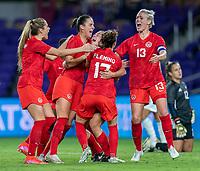 ORLANDO, FL - FEBRUARY 21: Sarah Stratagakis #10 of Canada celebrates during a game between Canada and Argentina at Exploria Stadium on February 21, 2021 in Orlando, Florida.