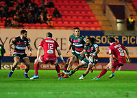 Kyle Eastmond of Leicester Tigers in action during the Heineken Champions Cup round 5 match between the Scarlets and Leicester Tigers at the Parc Y Scarlets Stadium in Llanelli, Wales, UK. Saturday 12th January 2019
