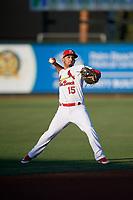 Palm Beach Cardinals shortstop Jose Martinez (15) throws to first base during a Florida State League game against the Daytona Tortugas on April 11, 2019 at Roger Dean Stadium in Jupiter, Florida.  Palm Beach defeated Daytona 6-0.  (Mike Janes/Four Seam Images)