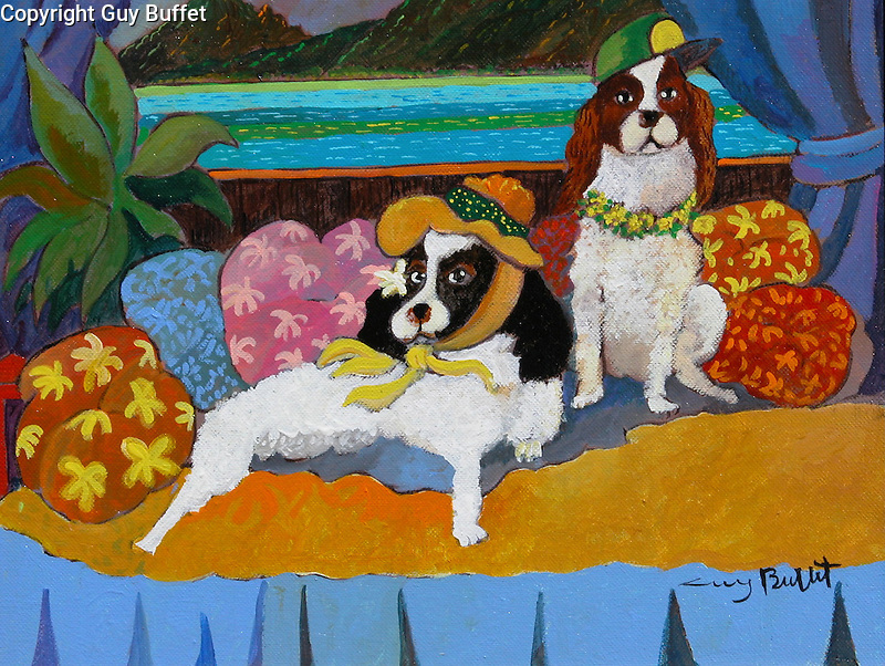 "EXAMPLE Acrylic on Canvas 11x14<br /> 2 Pets<br /> ""Our Hawaiian Honeymoon"""