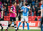 St Johnstone v Dundee…11.03.17     SPFL    McDiarmid Park<br />Brian Easton hugs Paul Paton at full time<br />Picture by Graeme Hart.<br />Copyright Perthshire Picture Agency<br />Tel: 01738 623350  Mobile: 07990 594431