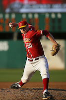 March 7 2010: Logan Olson of USC during game against University of New Mexico at Dedeaux Field in Los Angeles,CA.  Photo by Larry Goren/Four Seam Images