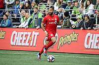 SEATTLE, WA - NOVEMBER 10: Justin Morrow #2 of Toronto FC runs with the ball during a game between Toronto FC and Seattle Sounders FC at CenturyLink Field on November 10, 2019 in Seattle, Washington.