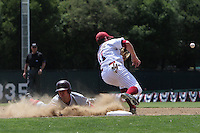 31 May 2008: Stanford Cardinal Sean Ratliff slides safely into third base during Stanford's 5-1 win against the Arkansas Razorbacks in game 3 of the NCAA Stanford Regional at Sunken Diamond in Stanford, CA.