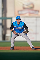 Tampa Tarpons first baseman Tim Lynch (26) during a game against the Lakeland Flying Tigers on April 6, 2018 at Publix Field at Joker Marchant Stadium in Lakeland, Florida.  Lakeland defeated Tampa 6-5.  (Mike Janes/Four Seam Images)
