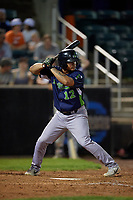 Vermont Lake Monsters Jordan Diaz (12) at bat during a NY-Penn League game against the Aberdeen IronBirds on August 19, 2019 at Leidos Field at Ripken Stadium in Aberdeen, Maryland.  Aberdeen defeated Vermont 6-2.  (Mike Janes/Four Seam Images)