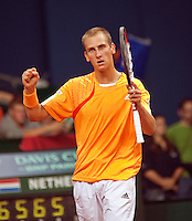 18-9-09, Netherlands,  Maastricht, Tennis, Daviscup Netherlands-France, Thiemo de Bakker verslaat Monfils en viert feest.