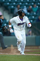 Yeyson Yrizarri (2) of the Winston-Salem Dash hustles down the first base line against the Wilmington Blue Rocks at BB&T Ballpark on April 15, 2019 in Winston-Salem, North Carolina. The Dash defeated the Blue Rocks 9-8. (Brian Westerholt/Four Seam Images)