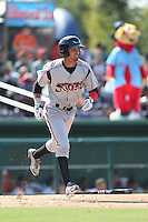 Donavan Tate (2) of the Lake Elsinore Storm runs to first base during a game against the Inland Empire 66ers at San Manuel Stadium on May 27, 2015 in San Bernardino, California. Lake Elsinore defeated Inland Empire, 12-9. (Larry Goren/Four Seam Images)