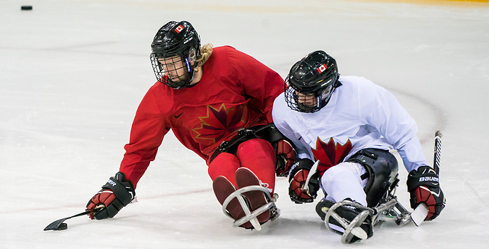 PyeongChang 8/3/2018 - Adam Dixon, of Midland, ON, and James Dunn, of Wallacetown, ON, as Canada's sledge hockey team practices ahead of the start of competition at the Gangneung practice venue during the 2018 Winter Paralympic Games in Pyeongchang, Korea. Photo: Dave Holland/Canadian Paralympic Committee