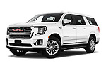 Stock pictures of low aggressive front three quarter view of 2021 GMC Yukon-XL SLT 5 Door SUV Low Aggressive