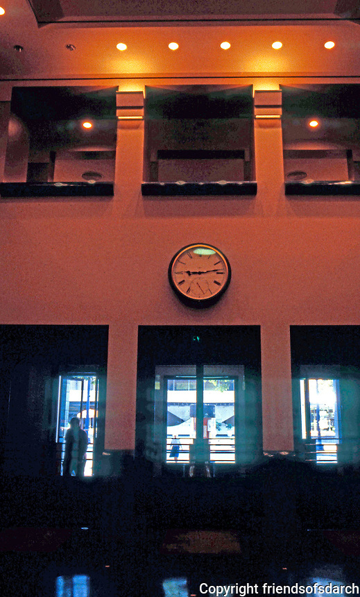 Michael Graves: Portland Building Lobby. Looking out to 5th Avenue.  Photo '86.
