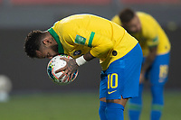 13th October 2020; National Stadium of Peru, Lima, Peru; FIFA World Cup 2022 qualifying; Peru versus Brazil;  Neymar of Brazil kisses the ball before he scores his second penalty kick goal in the 83th minute 2-3