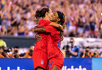 PHILADELPHIA, PA - AUGUST 29: Carli Lloyd #10 and Jess McDponald #22 of the United States celebrate during a game between Portugal and the USWNT at Lincoln Financial Field on August 29, 2019 in Philadelphia, PA.