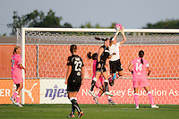 Sky Blue FC goalkeeper Jenni Branam (23) grabs a pass. The Western New York Flash defeated Sky Blue FC 2-0 during a Women's Professional Soccer (WPS) match at Yurcak Field in Piscataway, NJ, on July 17, 2011.