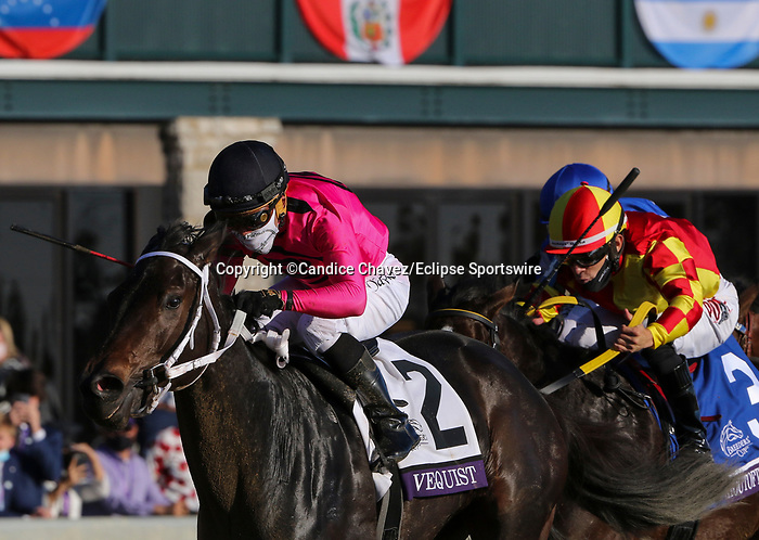 November 6, 2020: Vequist, ridden by Joel Rosario, wins the Juvenile Fillies on Breeders' Cup Championship Friday at Keeneland on November 6, 2020: in Lexington, Kentucky. Candice Chavez/Breeders' Cup/Eclipse Sportswire/CSM
