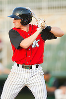 Zach Kayne #8 of the Kannapolis Intimidators at bat against the Augusta GreenJackets at Fieldcrest Cannon Stadium June 24, 2010, in Kannapolis, North Carolina.  Photo by Brian Westerholt / Four Seam Images