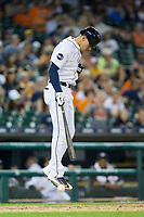 JaCoby Jones (40) of the Detroit Tigers jumps in the air after having been hit by a pitch during the game against the Chicago White Sox at Comerica Park on June 2, 2017 in Detroit, Michigan.  The Tigers defeated the White Sox 15-5.  (Brian Westerholt/Four Seam Images)