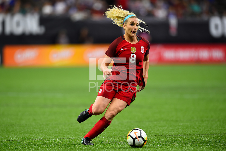 New Orleans, LA - Thursday October 19, 2017: Julie Ertz during an International friendly match between the Women's National teams of the United States (USA) and South Korea (KOR) at Mercedes Benz Superdome.