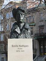 Emile Nellligan bust in Saint-Louise Square