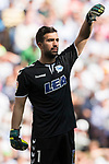 Goalkeeper Fernando Pacheco Flores of Deportivo Alaves reacts during their La Liga match between Real Madrid and Deportivo Alaves at the Santiago Bernabeu Stadium on 02 April 2017 in Madrid, Spain. Photo by Diego Gonzalez Souto / Power Sport Images
