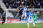 Carlos Henrique Casemiro (l) of Real Madrid competes for the ball with Luciano Neves of Deportivo Leganes during their La Liga match between Deportivo Leganes and Real Madrid at the Estadio Municipal Butarque on 05 April 2017 in Madrid, Spain. Photo by Diego Gonzalez Souto / Power Sport Images