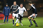 Dundee v St Johnstone…12.02.16   SPFL   Dens Park, Dundee<br />Danny Swanson takes on Kevin Holt<br />Picture by Graeme Hart.<br />Copyright Perthshire Picture Agency<br />Tel: 01738 623350  Mobile: 07990 594431