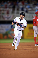 Minnesota Twins second baseman Brian Dozier (2) running the bases on a Eddie Rosario (not shown) home run during a Spring Training game against the Boston Red Sox on March 16, 2016 at Hammond Stadium in Fort Myers, Florida.  Minnesota defeated Boston 9-4.  (Mike Janes/Four Seam Images)
