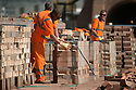 01/10/15<br /> <br /> Men check and stack some of the 18,000 bricks they are each due to move today.<br /> <br /> ***Full story here:  http://www.fstoppress.com/articles/london-bricks/  ***<br /> <br /> Triathletes have recently coined the term 'brick workout' to describe their gruelling training regime when running, following tough sessions on their bicycles.<br /> <br /> But one group of workers have been using their very own 'brick workout' for decades, without the need for lycra, personal trainers or lightweight bicycles.<br /> <br /> These men, 21 on every shift, each pick-up, inspect, and re-stack 18,000 London Bricks every day.<br /> <br /> One brick weighs 2 kg – so each man lifts the equivalent of almost 40 tons every day at the brick works, near Peterborough, where 2.8 million bricks are made each week.<br /> <br /> All Rights Reserved: F Stop Press Ltd. +44(0)1335 418365   www.fstoppress.com.