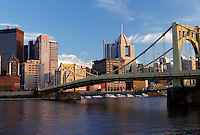 skyline, PA, Pittsburgh, bridge, Pennsylvania, downtown skyline of Pittsburgh, 7th Street Bridge, Allegheny River.