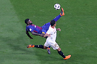 Sevilla FC's Luis Muriel (r) and FC Barcelona's Samuel Umtiti during Spanish King's Cup Final match. April 21,2018. (ALTERPHOTOS/Acero)