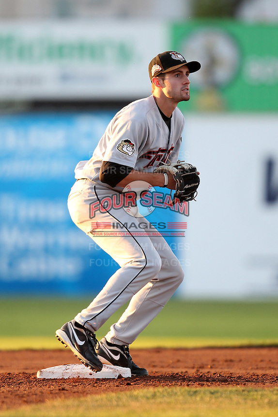 Tri-City ValleyCats second baseman John Hinson #3 during a game against the Batavia Muckdogs at Dwyer Stadium on July 15, 2011 in Batavia, New York.  Batavia defeated Tri-City 4-3.  (Mike Janes/Four Seam Images)