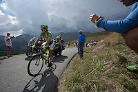 Green Jersey Peter Sagan (SVK/Tinkoff-Saxo) looking over the edge trying to see how far behind the competition is up the Col d'Allos (1C/2250m/14km/5.5%)<br /> <br /> stage 17: Digne-les-Bains - Pra Loup (161km)<br /> 2015 Tour de France