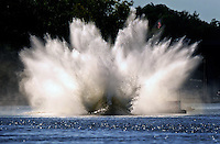 Jul. 18, 2009; Augusta, GA, USA; IHBA top fuel hydro driver Jarrett Silvey submerges his boat under water during qualifying for the Augusta Southern Nationals on the Savannah River. Mandatory Credit: Mark J. Rebilas-