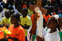 BURKINA FASO Dori, catholic school, children march with the cross and idol of mother mary / BURKINA FASO Dori, katholische Schule, Kinder gehen den Kreuzweg