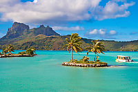 Mount Otemanu and turquoise lagoon view, on the tropical island Bora Bora, honeymoon destination, near Tahiti, French Polynesia, Pacific Ocean