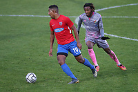 Angelo Balanta of Dagenham and Redbridge and Kundai Benyu of Wealdstone during Dagenham & Redbridge vs Wealdstone, Vanarama National League Football at the Chigwell Construction Stadium on 10th October 2020