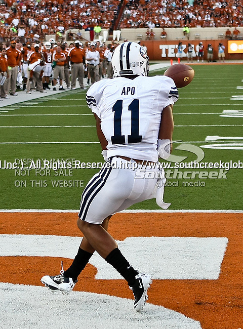 Brigham Young Cougars wide receiver Ross Apo (11) in action during the game between the Brigham Young Cougars and the Texas Longhorns at the Darrell K Royal - Texas Memorial Stadium in Austin, Texas. Texas defeats Brigham Young 17 to 16...