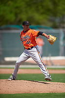 Baltimore Orioles pitcher Dennis Torres (41) during a minor league Spring Training game against the Minnesota Twins on March 16, 2016 at CenturyLink Sports Complex in Fort Myers, Florida.  (Mike Janes/Four Seam Images)