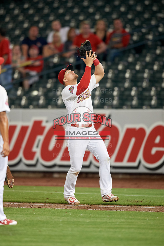 Memphis Redbirds first baseman Luke Voit (35) tracks a pop up during a game against the Round Rock Express on April 28, 2017 at AutoZone Park in Memphis, Tennessee.  Memphis defeated Round Rock 9-1.  (Mike Janes/Four Seam Images)