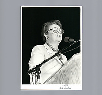 Solange Chaput-Rolland<br /> , le 7 avril 1980<br /> avant sa defaite electorale.<br /> <br /> PHOTO : Agence Quebec Presse