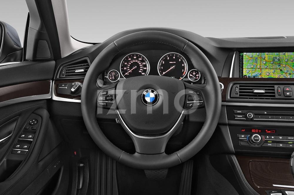 Car pictures of steering wheel view of a 2015 BMW 5 Series 528i 4 Door Sedan Steering Wheel